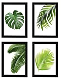 Poster 4er-Set 'BLÄTTER', gerahmt DIN A4, Dekoration für Wohn- und Arbeitsräume, Monstera, Palmen, Kunstdruck, Wandbild, Poster mit Rahmen, Geschenk (Mit Ikea Fiskbo Schwarz)