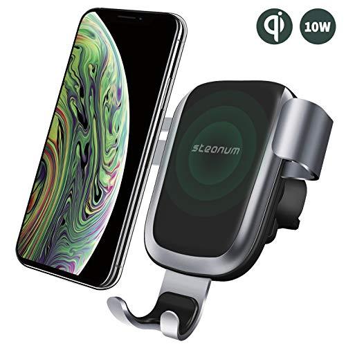 steanum Qi Handy Autohalterung, Qi Handy Halter Auto Lüftungsschlitz Kompatible für iPhone XS Mas XS XR X 8 8Plus, Samsung Note 5,Galaxy S9 S8 S7 S6, Huawei Mate 20 Pro, Schwarz