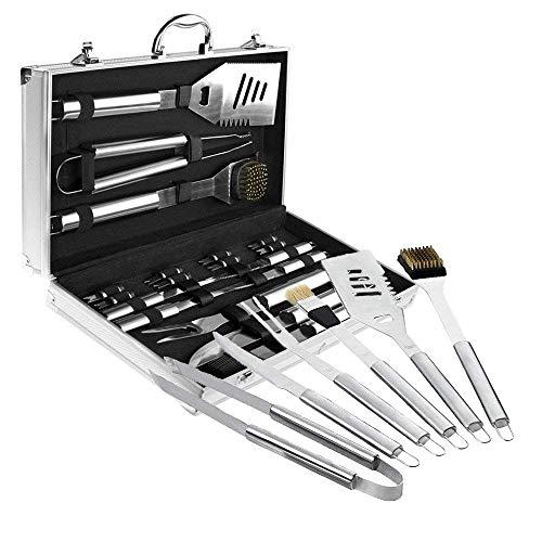 Froadp BBQ Grillbesteck 18tlg/Set Edelstahl Besteck Grill-Werkzeug Set mit Alukoffer