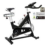 AsVIVA Indoor Cycle Speedbike S14 Bluetooth | inkl. SPD Klickpedale & Brustgurt (Pulsgurt) | 23kg Schwungmasse | Fitness-App kompatibel | stufenlose Widerstandseinstellung durch Filzbremse
