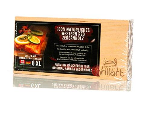 6 Pack XL Grillbretter – Zedernholzbrett zum Grillen – Räucherbretter aus Zedernholz von grillart hergestellt aus 100% natürlichem Western Red Zedernholz von Kanada für einen besonderen Grillgeschmack