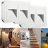 SUBOSI LED Treppenlicht Aluminium 230V 3W Glas Wandleuchten Treppenlicht mit Unterputzdose Treppenlicht Wandleuchte IP65 wasserdicht warmweiß