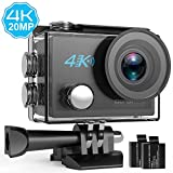 DBPOWER N5 4K Action Cam, 5X Zoom 20 Megapixel WLAN Sportkamera Ultra HD Wasserdichter Action Kamera DV Camcorder mit 170° Weitwinkelobjektiv & 2 Zoll LCD Display samt 2 aufladbaren Batterien und viel