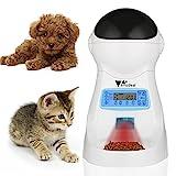 Amzdeal Futterautomat Katze, Automatischer Futterspender für Katze und Hund, Pet Feeder mit Timer, LCD Bildschirm und Ton-Aufnahmefunktion, 4 Liter