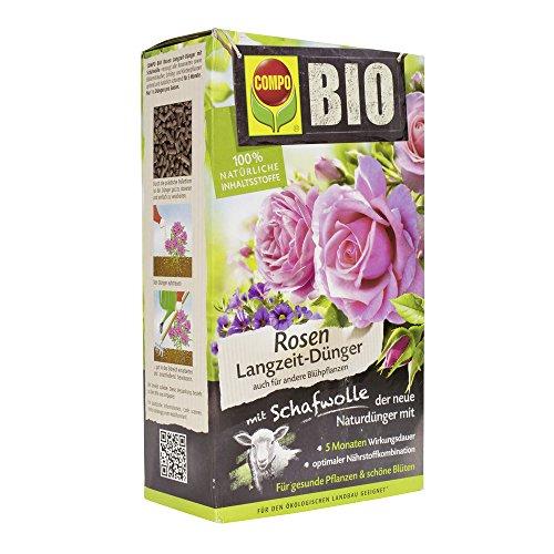 COMPO BIO Rosen Langzeit-Dünger mit Schafwolle, einzigartiger, rein organischer Naturdünger für Rosen und Blühpflanzen