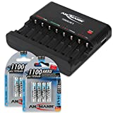 ANSMANN Batterieladegerät Powerline 8 für Akku Batterien inkl. 8x AAA 1100mAh Accus - Universal Ladegerät, 8-fach multi Akkuladegerät zum Laden & Entladen für AA & AAA Akkus & USB Port