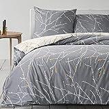 Bedsure Baumwolle Bettwäsche 135x200 cm Grau/Beige Bettbezüge mit Schickem Zweige Muster, 2-Teilig Super Weiche Atmungsaktive Baumwollbettwäsche mit Reißverschluss und 80x80cm Kissenbezug