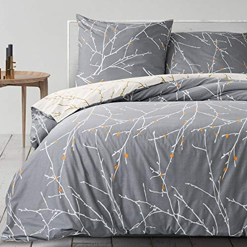 Bedsure Baumwolle Bettwäsche 220x200 cm Grau/Beige Bettbezug Set mit schickem Zweige Muster, 3 teilig weiche Flauschige Bettbezüge mit Reißverschluss und 2 mal 80x80cm Kissenbezug