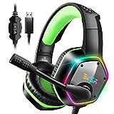 EKSA E1000 Gaming Headset für PS4 PC Xbox One, Over-Ear Gaming Kopfhörer mit 7,1 Surround Sound 50MM Treiber und Rauschunterdrückung Mikrofon, buntes RGB-Licht, für Laptop Mac Tablet (Grün)