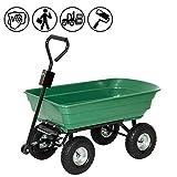 Froadp Handwagen Gartenkarre Kunststoff Kippwagen mit geschlossener Ladefläche Transportwagen bis 350KG für Garten Baustelle usw