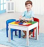 3in1 Bausteine Spieltisch Sitzgruppe, Kindertisch mit 4 integrierten Bauplatten für Konstruktionsspielzeug & Stühle