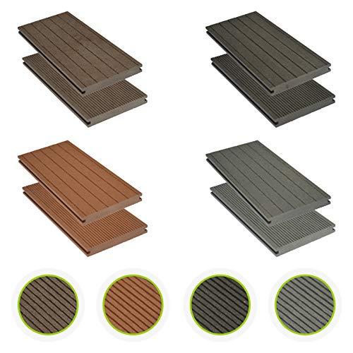 HORI WPC-Terrassendielen massiv braun I Komplett-Set inkl. 40x60 mm Unterkonstruktion & Clips I Dielenlänge 2,90 m I Fläche 5 m²