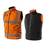 2 in 1 Profi Warnweste orange Fleeceweste Sicherheitsweste Arbeitsweste Funktionsweste XL
