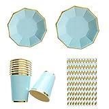 Lembeauty Gold blockierender Party Geschirr, Einweg Papier Geschirr-Set für Geburtstag Hochzeit Decor (822,9cm Gerichte, 817,8cm Gerichte, 8Pappbecher, Lederpolster Papier Trinkhalme) blau