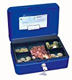 Wedo 145303H Geldkassette (aus pulverbeschichtetem Stahl, versenkbarer Griff, Geldnoten- und Belegeklammer, 5-Fächer-Münzeinsatz, Sicherheits-Zylinderschloss, 25 x 18 x 9 cm) blau