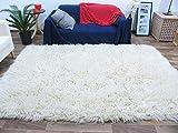 Flokati Teppich Qualität 3000 natur Kult Shaggy Teppich Hochflor Langflor 100% Schurwolle, Größe: 90x160 cm