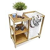Relaxdays Wäschesammler LINEA Bambus H x B x T: ca. 65 x 68 x 33 cm Wäschekorb als Badezimmeregal mit 3 Ablagen als Wäschepuff aus natürlichem Leinen mit einem großen Fassungsvermögen, natur