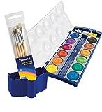 Pelikan 720250 Deckfarbkasten K12, 12 Farben + 1 Tube Deckweiß, Schul-Standard + Pinselset & Wasserbox