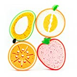 4er-Schwamm-Set Freche Früchtchen - Badeschwamm, Körperschwamm, Duschschwamm, Massageschwamm, Haushaltsschwamm, Spülschwamm, Küchenschwamm, 4 Mikrofaserschwämme in Früchteformen