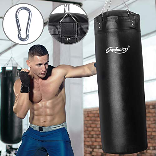 Boxsack für Erwachsene   Gefüllt, Ø35 cm, H120 cm, Gewicht 30 kg, inkl. 4-Punkt Stahlkette und Karabinerhaken   Box, Kickboxen, MMA, Taekwando, Kampfsport, Fitness, Sport, Muay Thai, Punching Bag