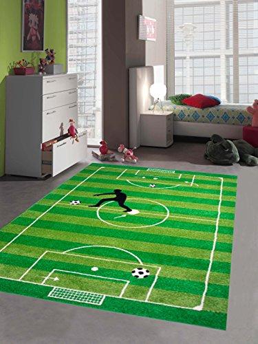 Kinderteppich Spielteppich Kinderzimmerteppich Fußballteppich in Grün, Größe 120x170 cm