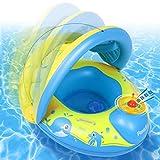 Peradix Baby Schwimmring mit Sonnendach Aufblasbares Kinderboot für Kinder ab 6 Monaten,Mehrweg(Blaues Gelb)