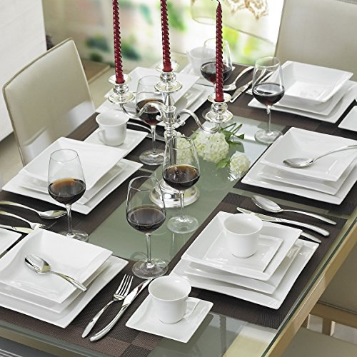 MALACASA, Serie Carina, 60 TLG. Porzellan Geschirrset Kombiservice Tafelservice für 12 Personen Cremeweiß