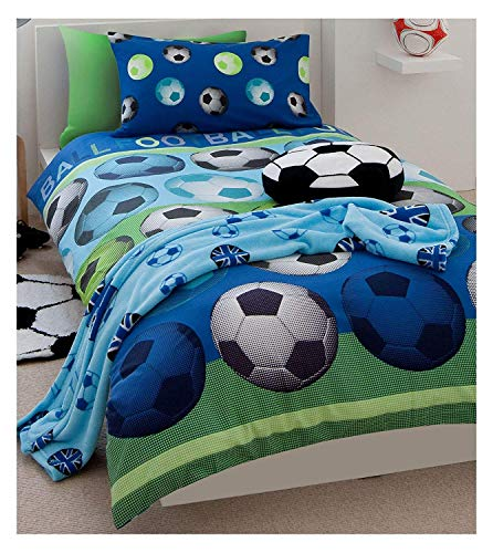 Einzelne Wendbare Fußball Blau Baumwolle Bettwäsche Set Deckel Bettbezug Set