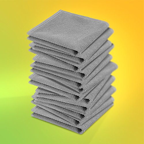 KRACHT, 12er-Set, Poliertuch, Spültuch, Multifunktion, 100% Baumwolle, Edition ziczac-affaires, ca.30x30cm (grau)