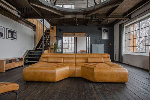 XXL Sofa Tara Big Sofa Wohnlandschaft Leder Cognac mit Kissen 292x75x148cm (B/H/T)