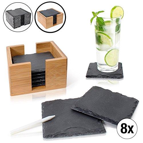 Amazy Schiefer Untersetzer (8 Stück) inkl. Kreidestift – Dekorative Glasuntersetzer aus 100 % natürlichem Schiefer mit praktischer Aufbewahrungsbox aus edlem Bambus