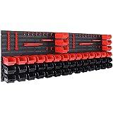 Deuba Wandregal + Stapelboxen   90 tlg Box   inkl. Werkzeughalter   Regal erweiterbar   Werkstattregal Lagerregal Werkstattwandregal Steckregal