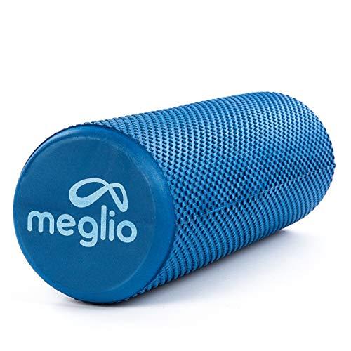 Meglio Pilates Rolle 45cm / 90cm – Schaumstoffrolle | Faszienrolle | Yoga Rolle für Selbstmassagen – blau/schwarz/lila – perfekt geeignet für Fitness, Yoga, Pilates – mit Übungs-Guide (Blau (90 x 15cm))