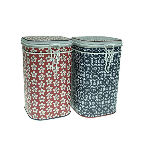 2er Set Teedosen SCANDIC, für je 250 g, rechteckig, 16cm, rot blau, Eigenart