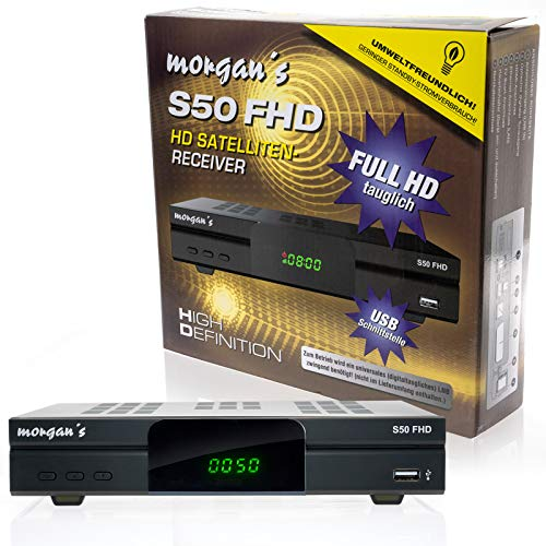 Morgan's S50 FHD digitaler Satelliten Sat-Receiver (HDTV, DVB-S2, HDMI, SCART, USB 2.0, Full HD 1080p, LAN Anschluss) [vorprogrammiert für Astra] mit Aufnahme und Timeshift – schwarz