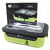 OISHI LUNCHBOX YUMMY - Bento Box 1500ml + Besteck + 3 Fächer - BPA-Frei - Spülmaschine Mikrowelle & Gefrierschrank - Brotdose für Kinder & Erwachsene
