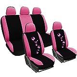 WOLTU AS7252 Universal Schonbezüge für Auto Sitzbezüge Sitzschoner Sitzbezug Auflage Schutz, Butterfly Stickerei, schwarz-rosa