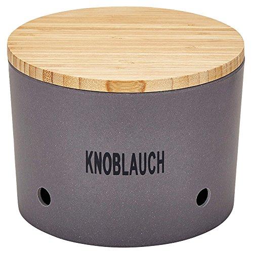 Magu 136 662 Knoblauchtopf 'Natur-Design' in Bambusfasern, Getreidestärke, Holzfaser, Schiefer, 28 x 28 x 8 cm