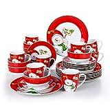 VEWEET, Tafelservice Serie 'Snowman' aus Porzellan, 32-teilig Kombiservice beinhaltet 10,75 '' Speiseteller, 7,5 '' Desserteller, 5,5 '' Schüssel und 380ml Kaffeebecher,Komplettservice für 8 Personen