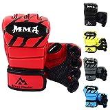 Brace Master MMA Handschuhe UFC Handschuhe Leather Padding für Männer, Frauen, Knöchelgelenkschutz, Fingerlose Sparring-Handschuhe für das Training, Kickboxen, Muay Thai, Boxen (Für Rot M)