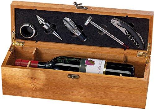 Carlo Milano Weinset: 5-tlg. Sommelier-Set in edler Geschenkbox für 1 Weinflasche (Wein Geschenkbox)