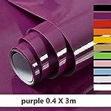 Hode Selbstklebende Klebefolie für Möbel,Küche,Wasserdicht Vinyl,40cmX300cm,Lila,Designfolie Selbstklebend
