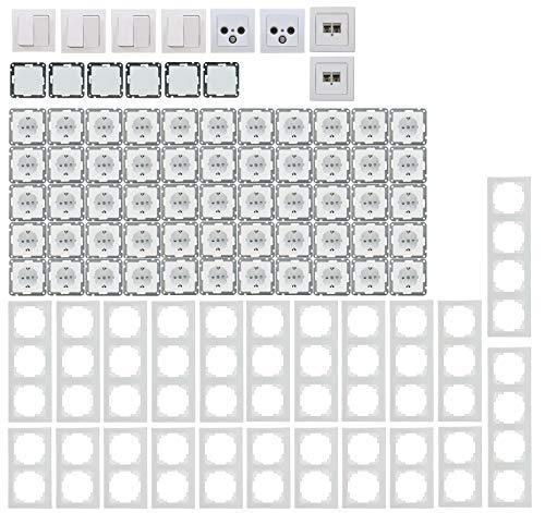 Delphi Steckdosen Schalter Serie Elektro Set 94-teilig I Steckdosen Schalter Netzwerk TV Antenne Unterputz Einbau I Weiß