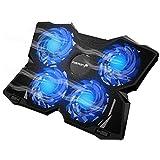 Fosmon Laptop Kühler mit 4 Ruhige Leistungsstarken Lüfter, (1200 RPM, MAX 75CFM Air Flow) 2 USB Port mit Blaue LED Notebook Cooler Ständer Kühlpads kompatibel mit 12-17 Zoll Macbook Gaming Gamer PS4