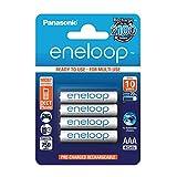 Panasonic eneloop, Ready-to-Use Ni-MH Akku, AAA Micro, 4er Pack, min. 750 mAh, 2100 Ladezyklen, geringe Selbstentladung