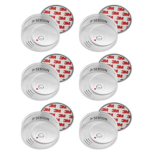 SEBSON 10 Jahres Rauchwarnmelder inkl. Magnethalterung, DIN EN 14604 zertifiziert, fotoelektrischer Rauchmelder, Brandmelder, 6er Set