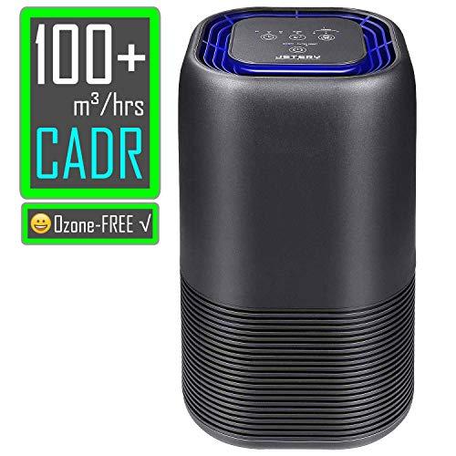 JETERY Luftreiniger mit HEPA-Kombifilter & Aktivkohlefilter und Auto Timer, Luftreinigungsgerät mit LED Nachtlicht perfekt für Allergie, Wohnung, Raucherzimmer, JT-8030