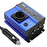 LOFTer 300W Auto Wechselrichter LED Anzeige KFZ Spannungswandler DC 12V auf AC 230V Power Inverter mit 2 USB Anschlüsse, 1 Steckdose und 2 Zigarettenanzünder Anschlüssen Blau.