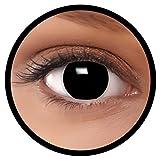 FXEYEZ Farbige Kontaktlinsen schwarz'Hexe' + Linsenbehälter, weich, MIT Stärke -2.00 als 2er Pack - angenehm zu tragen und perfekt zu Halloween, Karneval, Fasching oder Fasnacht