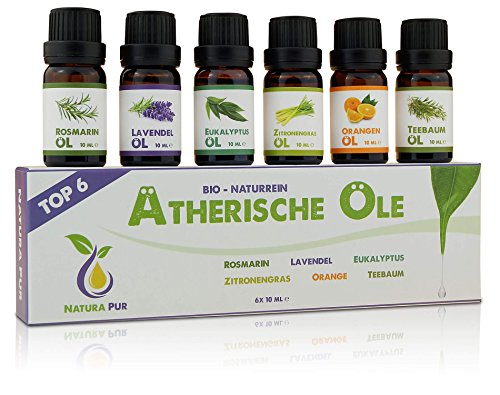 Natura Pur Ätherische Öle Set (Top 6) - 100% Bio naturrein - Duftöl Set für Diffuser und Aromatherapie, 6 x 10ml (Rosmarin, Lavendel, Eukalyptus, Zitronengras, Orange, Teebaum)